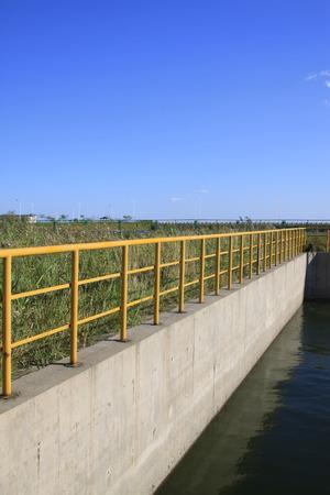 sedimentation: Tank metal rail Stock Photo