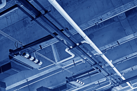 vents: Central air-conditioning vents and pipeline, closeup of photo Stock Photo