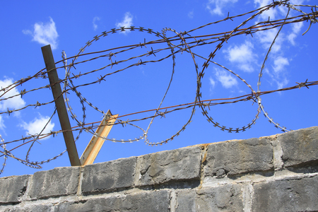 disorderly: Barbed wire under the blue sky, closeup of photo