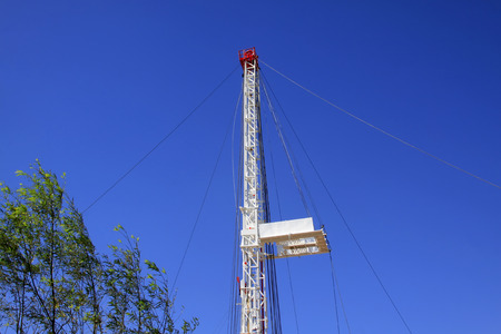 solid wire: Oil drilling derrick, closeup of photo Stock Photo