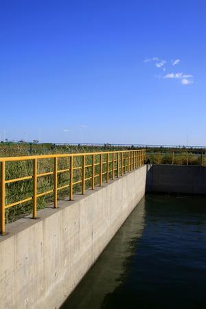 sedimentation: Tank metal rail, closeup of photo
