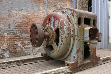 abandoned large mechanical equipment, closeup of photo