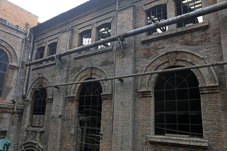 disused factories workshop, closeup of photo
