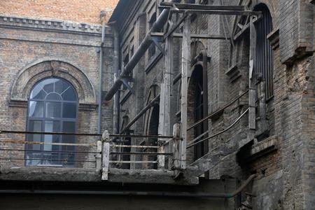 rupture: debris building channel, closeup of photo