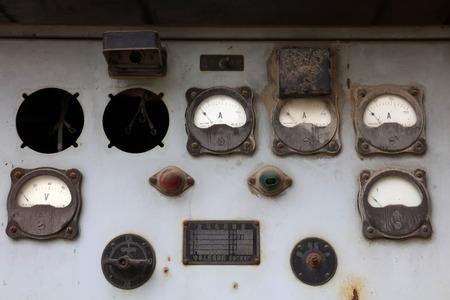control box: aging generator control box, closeup of photo Editorial
