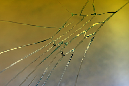 breakage: broken glass, closeup of photo Stock Photo
