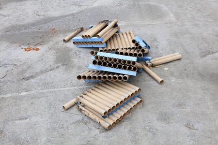 blasting: remnants of fireworks tube rows, closeup of photo Stock Photo