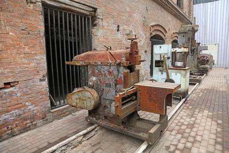 abandoned mechanical equipment, closeup of photo