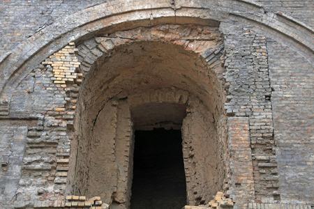brick kiln: abandoned industrial architecture, closeup of photo Stock Photo
