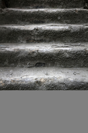 heavy risk: Very aging stair steps, closeup of photo Stock Photo