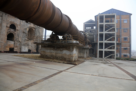 kiln: oxidation rust rotary kiln equipment, closeup of photo