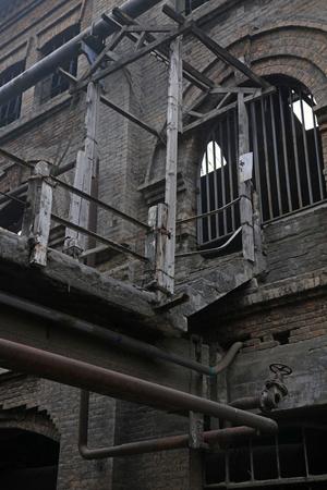 heavy risk: debris building channel, close up photo Stock Photo