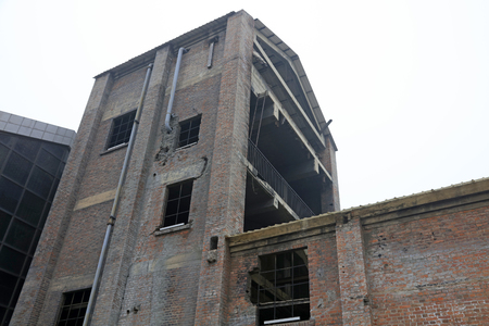 antique factory: disused factories workshop, close up photo