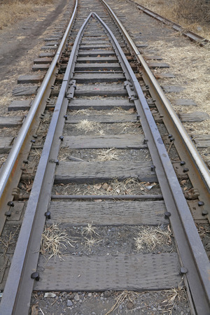 friction: Old railroad tracks, close up photo