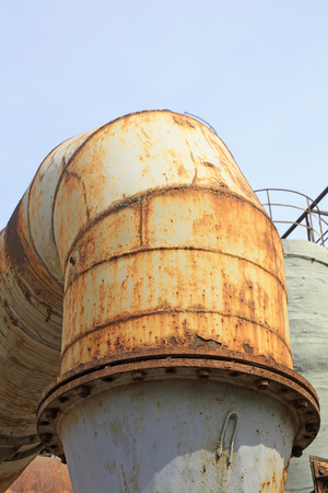 oxidize: oxidize metal pipe in the factory, closeup of photo