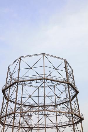truss: cylindrical shape steel truss, closeup of photo
