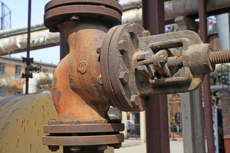 oxidize: oxidize pressure valve in the factory, closeup of photo