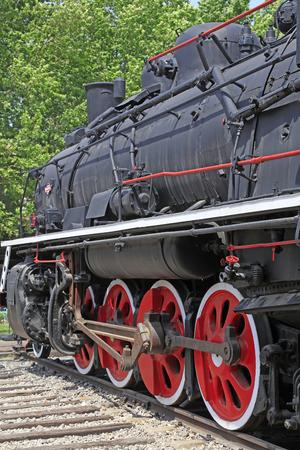 traction engine: Steam locomotive wheel, closeup of photo