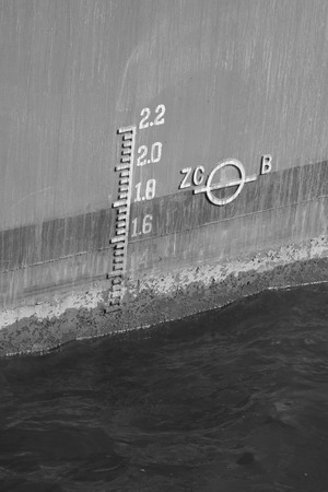 waterline: closeup of waterline marked on ship Stock Photo