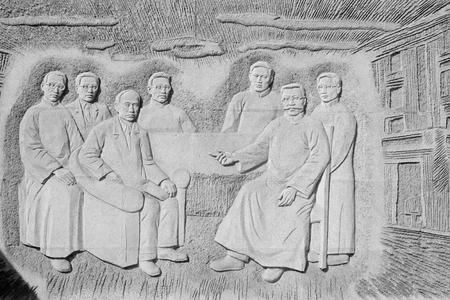 lifelike: LETING COUNTY - MARCH 9: Wall carvings in the li dazhao memorial hall, on march 9, 2014, Leting county, hebei province, China.