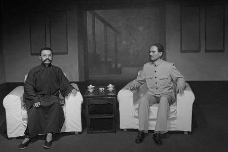 lifelike: LETING COUNTY - MARCH 9: Li dazhao and sun yat-sens wax figure in the li dazhao memorial hall, on march 9, 2014, Leting county, hebei province, China.