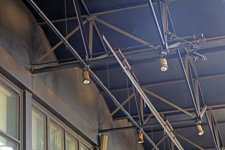 steel beam: spotlight on the steel beam, closeup of photo