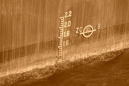 depth measurement: closeup of waterline marked on ship Stock Photo