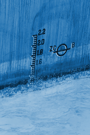 closeup of waterline marked on ship Stock Photo