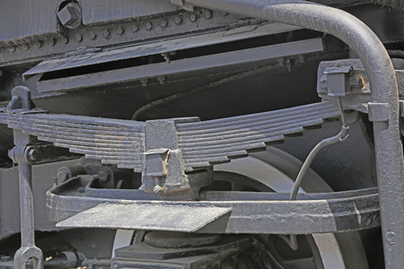 steam traction: Steam locomotive bow plate parts, closeup of photo