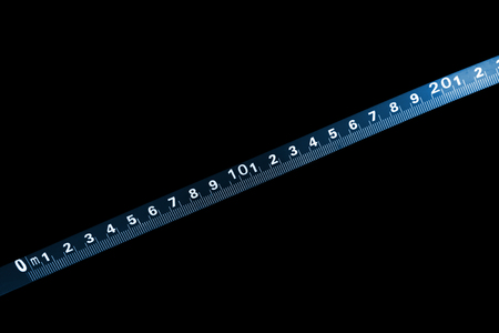 standard steel: steel tape - measuring tool, closeup of photo Stock Photo
