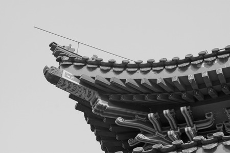 eaves: traditional Chinese ancient architecture eaves, closeup of photo