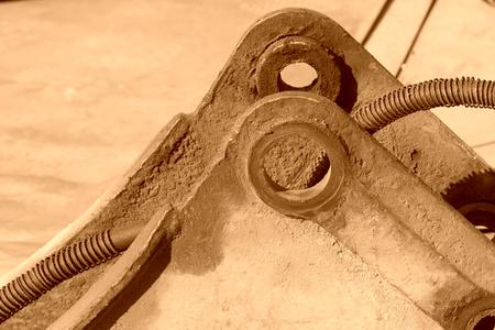 sludge: metal parts with greasy dirt in a factory