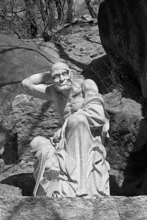 arhat: JI COUNTY - APRIL 5: arhat sculpture in the Panshan Mountain scenic spot, April 5, 2014, ji county, tianjin, China. Stock Photo