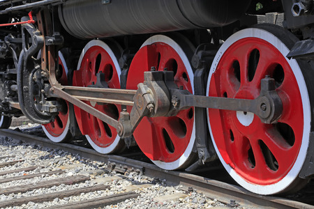 steam traction: Steam locomotive wheel Stock Photo