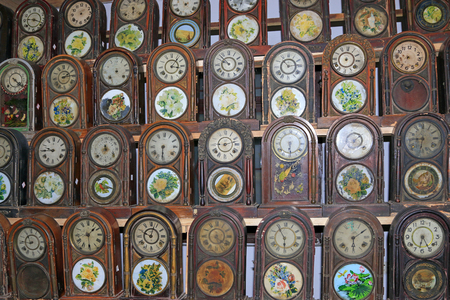 centralized: Traditional clock displays, closeup of photo