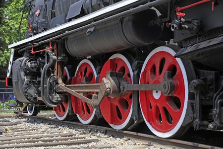 Steam locomotive wheel, closeup of photo