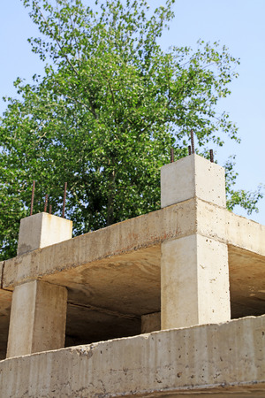 uncompleted: Reinforced concrete construction, closeup of photo Editorial