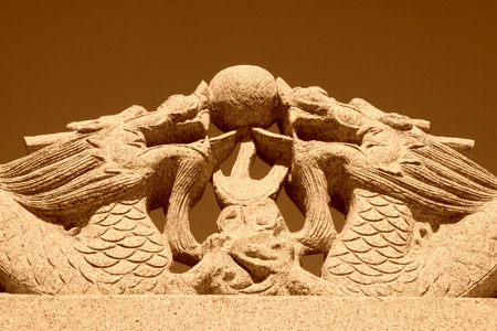 praised: Stone carving in Panshan Mountain scenic spot Stock Photo