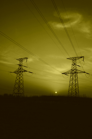 electric tower in the evening sky, power transmission facilities