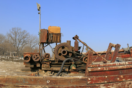 Diesel engine on the boat, closeup of photo Editorial