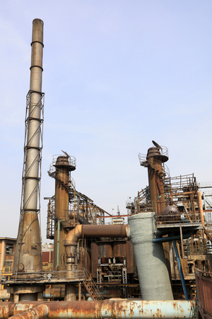 pipeline and chimney in the factory, closeup of photo Stock Photo