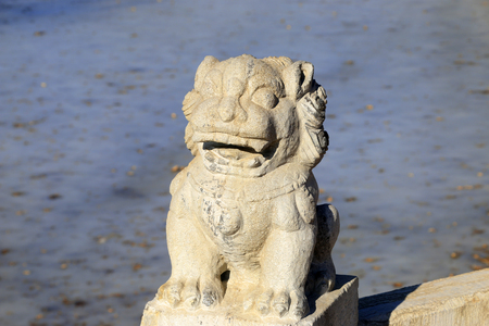 carved stone: Carved stone lions in a park, closeup of photo