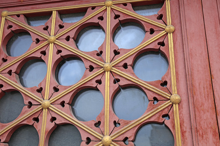 chinese traditional style wooden lattice windows closeup of stock