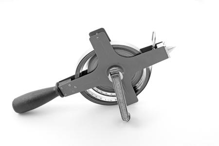 steel tape - measuring tool, closeup of photo Stock Photo
