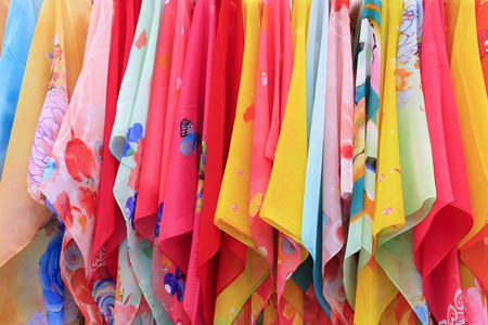 silk scarves closeup of photo