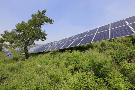 solar panel on the hillside, closeup of photo Stock Photo