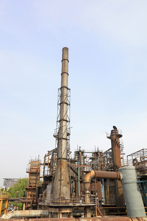 pipeline and chimney in the factory, closeup of photo Editorial