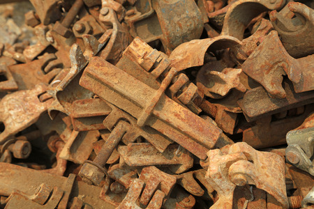 fasteners: Steel fasteners in the construction site Stock Photo