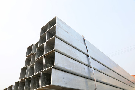 Steel cross section in the construction site