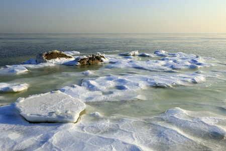 predicament: ice and snow by the sea, natural scenery